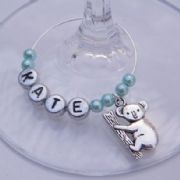 Koala Bear Personalised Wine Glass Charm